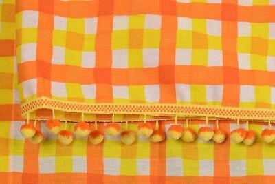 Vintage 60's Orange Yellow Bom Bom Balls CURTAIN 3 Piece Fabric RARE