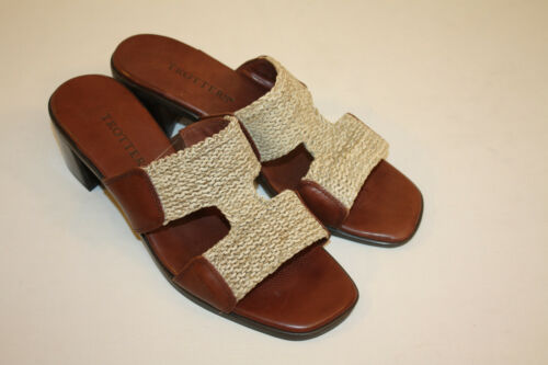 Trotters Womens Ladies Brown Leather Mules Slides Sandals Shoes Size 8M