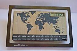 Vintage  80s Seiko World Time Talking Voice Alarm Desk Clock, Made in Japan