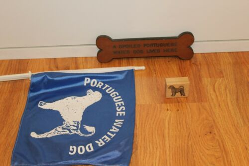 Portuguese Water Dog items, Car window Flag, Rubber PWD Stamp,bone shaped sign