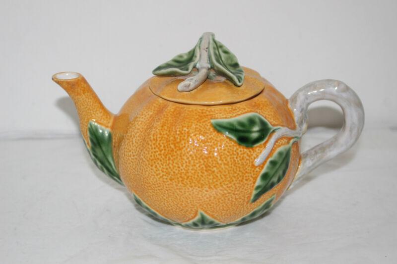 Vintage Bordallo Pinheiro Orange Teapot - Handpainted/Made in Portugal