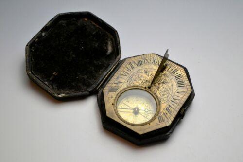 Good 18th Century French Pocket Sundial In Original Case