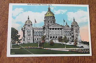 Vintage Postcard State Capital Des Moines Iowa Ia 1930 Hymans News   Book Store