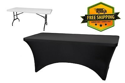 6' Spandex Stretch Tablecloth Rectangle Table Cover Black Tight Fitted 30x72