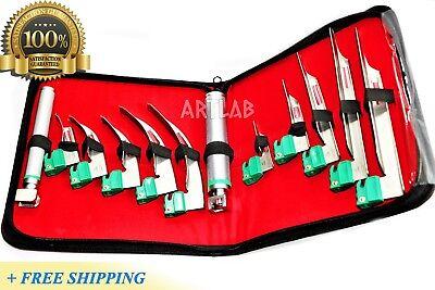 German Laryngoscope Set 12pcs Intubation Blades 2 Handle Fiber-optic Kit