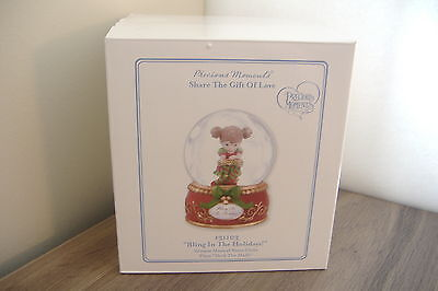 BLING IN THE HOLIDAYS~WATER GLOBE ~PLAYS DECK THE HALLS~PRECIOUS MOMENTS~131103~