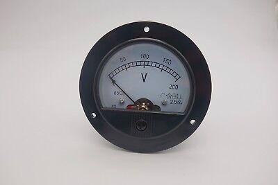 1pc Dc 0-200v Round Analog Voltmeter Voltage Panel Meter Dia.90mm Plastic
