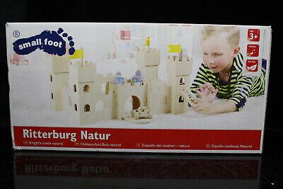 SMALL FOOD Ritterburg aus Holz Holzburg Natur mit 3 Rittern Steckspielzeug Burg