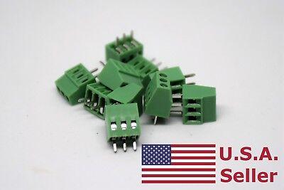 10pcs 2.54mm 0.1 Universal 3 Pin 3 Poles Pcb Screw Terminal Block Connector