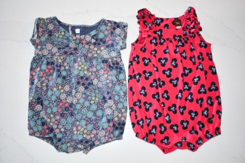 Tea Collection Lot of 2 Girls 12-18 Months Summer Rompers Blue Floral