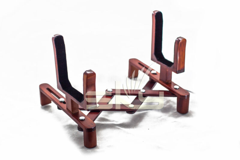 Accordion Style Mahogany Wood Stand for Violin or Viola Adjustable Stand Holder