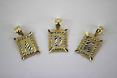 Authentic 10K Gold Initial Pendant Charm Plate Diamond Cut for Boys Men Diamond Cut Boy Pendant
