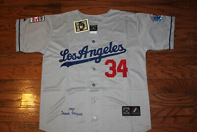 Los Angeles Dodgers #34 Valenzuela Away Gray Jersey w/Tags S