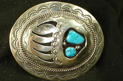 NAVAJO STERLING SILVER TURQUOISE SHADOWBOX BELT BUCKLE NATIVE AMERICAN DEAD PAWN