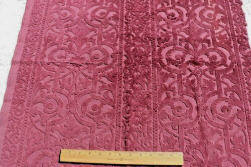 "Antique 19thC French Cut Cotton Maroon Velvet Fabric c1890~L-26"" X W-28""*"