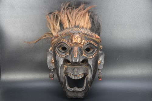 Demon Protector Tibetan MASK Handmade Wooden Face Wall Hanging Old Vintage Nepal