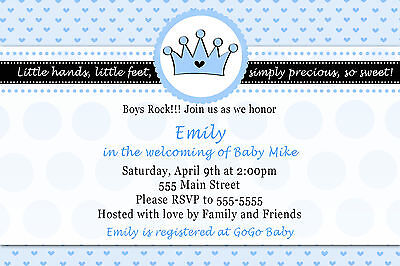30 Personalized Little Prince Baby Shower Invitation Card Birthday Party A1 - Little Prince Baby Shower Invitations