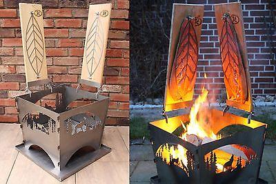 Feuerkorb Helsinki + Flammlachsbrett Ronja 2er + Halterung Catering Qualität Top