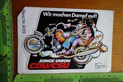 Alter Aufkleber Partei Verband Gewerkschaft CDU/CSU Junge Union Wir machen Dampf