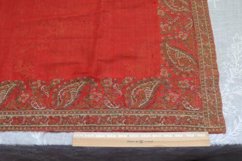 "Beautiful Christmas Red Wool Kashmir Paisley Shawl Cutter Fabric~L-27"" X W-47"""