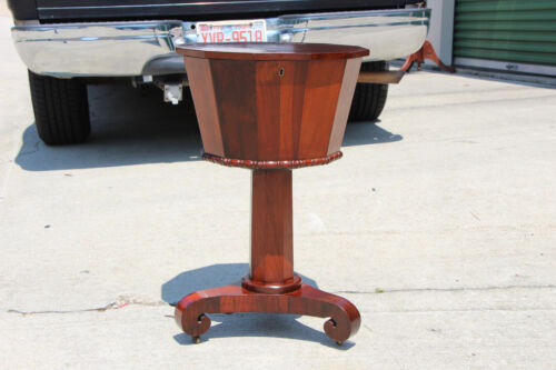 Rare Empire Period Rosewood Dodecagon Sewing Table with Scroll Feet ~ Ca.1840