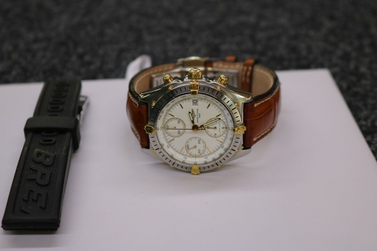 BREITLING Chronomat B13048 Date Chronograph White Dial Automatic Men's Watch