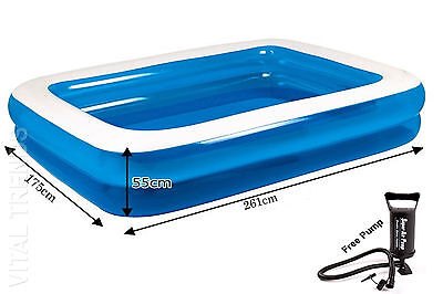 "103"" LARGE INFLATABLE RECTANGULAR FAMILY GARDEN PADDLING SWIMMING POOL FUN NEW"