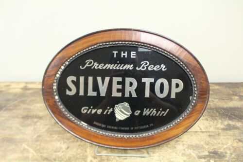 1940S SILVER TOP BEER REVERSE ON GLASS TOPS SIGN DUQUESNE PITTSBURGH PA