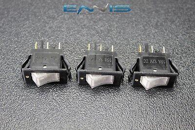 3 Pcs Rocker Switch On Off Mini Toggle White Led 12v 16 Amp Ec-1220wh