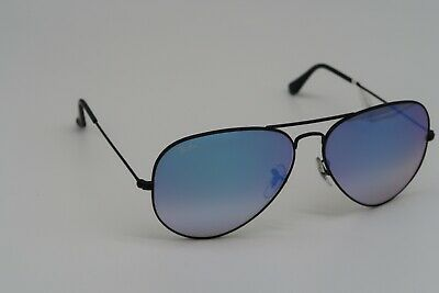Ray Ban RB3025 Aviator Large Metal Black Blue Gradient Mirror Lens Sunglasses