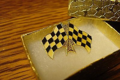 NASCAR: #1 Racing Flag Enameled Gold Tone Checkered Race Flag Design Lapel -