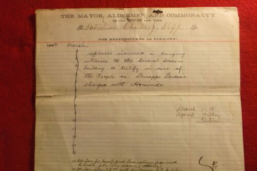 1897 EXPENSES BILLED  CITY OF NEW YORK PATROLMAN NYPD INVESTIGATION OF HOMICIDE