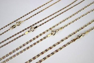 10K Yellow White Rose Gold Tri Color VALENTINO Chain Necklace (Rose Gold White Gold Necklace)