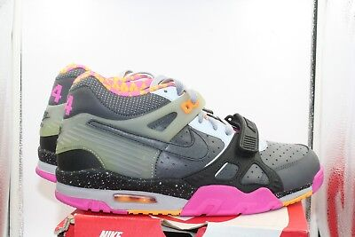 Nike Air Trainer III PRM QS DS Size 8 Bo Knows Horse Racing Grey Pink Yellow