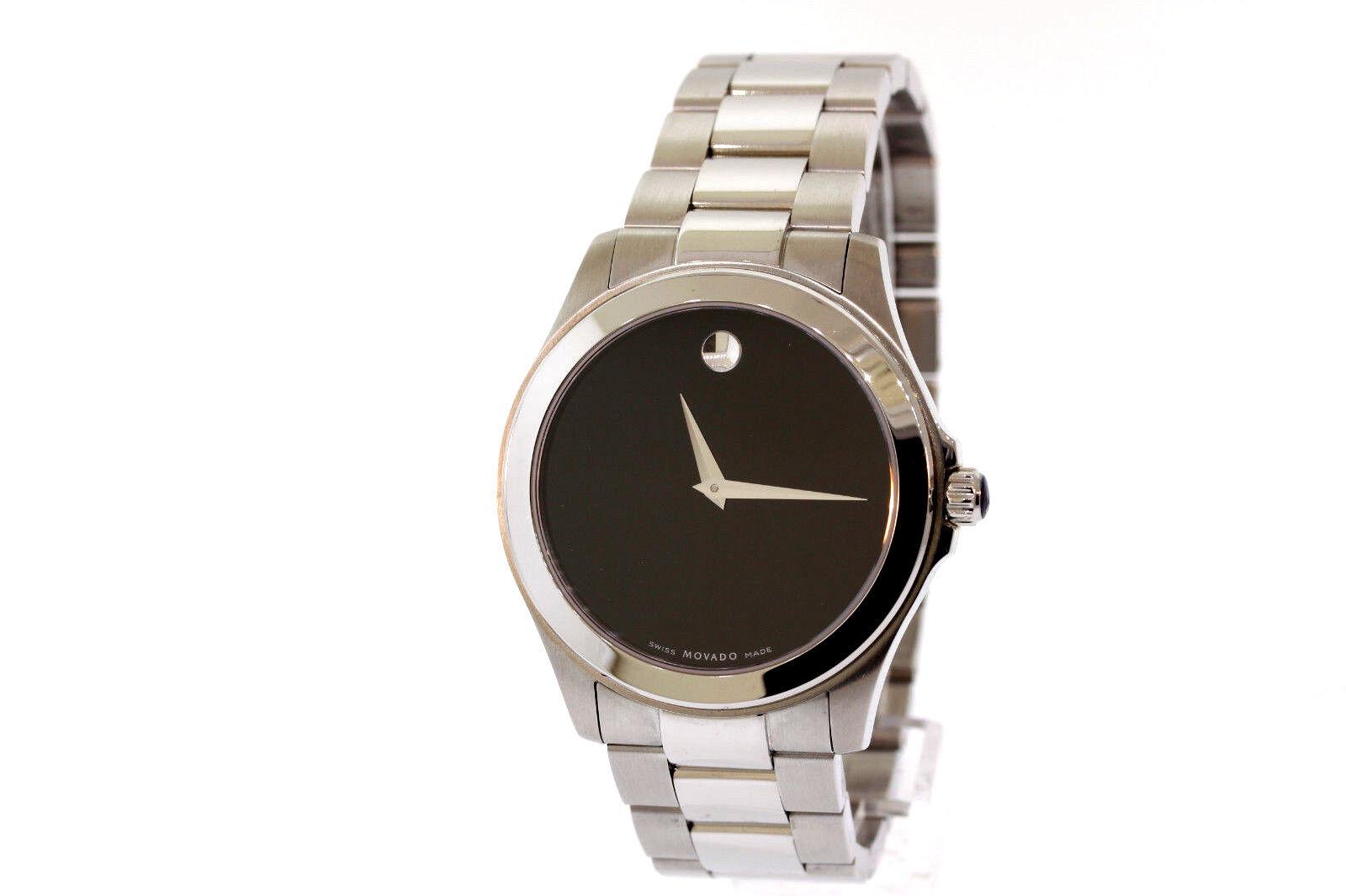 Men's Movado 0605746 JUNIOR SPORT Stainless Steel Black Dial Quartz Watch