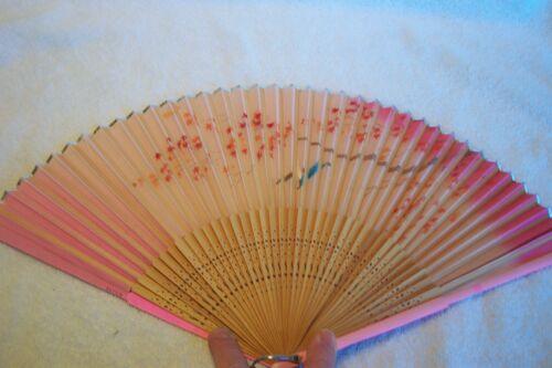 "Vintage 10"" Paper, Wood & Plastic Oriental Japan Fan Gold Pink  Red Leaves"