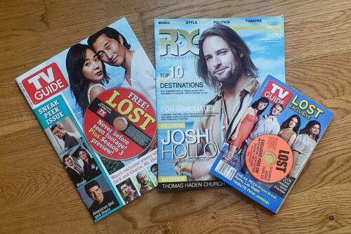 """ABC TV """"Lost"""" magazines covers lot - JOSH HOLLOWAY - CAST EXCLUSIVE CD + CD-ROM"""