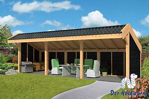 Pavillon Boekelo Gartenlaube Holzhaus Gartenhaus 900 x 340 cm Holz Lärche Neu