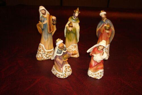 Retired Roman Inc. 5 Piece Nativity Set Mary w/Jesus, Joseph, 3 Wisemen Kings