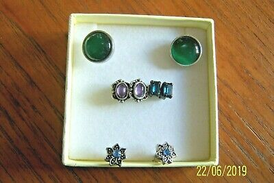 JOB LOT 4 PAIRS OF EARRINGS FOR PIERCED EARS COSTUME JEWELLERY VERY GOOD COND