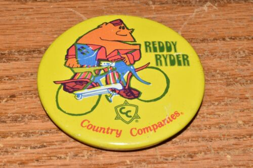 Vintage Reddy Ryder Puppet Mascot Country Companies Insurance 1960s Button Pin