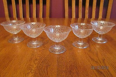 5 Vintage L.E. Smith By Cracky Crackle Clear Glass Champagne Glass Tall Sherbet
