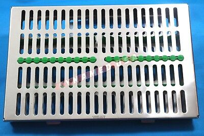 German Dental Autoclave Sterilization Cassette Box Tray For 20 Instrument-green