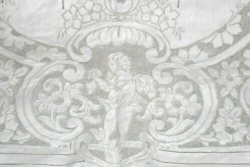 "Amazing Antique Vintage Cupids Embroidered Linen Tablecloth 51"" x 105"" UNUSED"