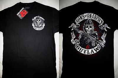 Sons Of Anarchy Soa Outlaw Reaper With Gun Tv Show Black T Shirt Nwt