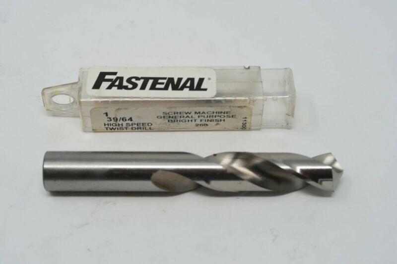 "FASTENAL 39/64"" HSS Bright Finish Screw Machine Stub Length Drill 24220 USA"