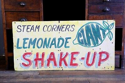 Wooden Carnival Sign Vtg Lemonade Shake Up Wood Sign Fair Circus yellow large