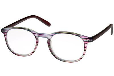 Lesebrille Damen Violett Lila gestreift runde ovale Gläser dunkelrote Bügel