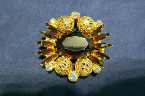 Vintage Juliana Brown Glass Stone Very Pretty Gold Tone Brooch/Pin