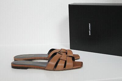 New sz 105 41 Saint Laurent Tribute Brown Leather Slide Sandal Flat Shoes